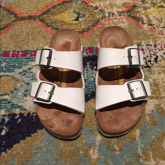 b06dce9c74bee4 Birkenstock Shoes - White Birkenstock Arizona Sandals Size 39